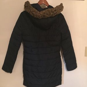 Hollister puffer parka faux fur Navy blue Small